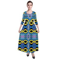Yellow And Blue Ovals                                       Quarter Sleeve Maxi Velour Dress
