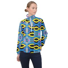 Yellow And Blue Ovals                                     Women Half Zip Windbreaker