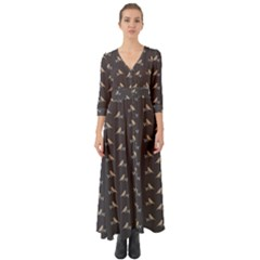Nordic Birds Button Up Boho Maxi Dress
