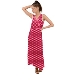 Red With White Polka Dots V Neck Chiffon Maxi Dress