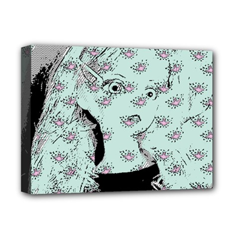 Wide Eyed Girl Deluxe Canvas 16  X 12  (stretched)  by snowwhitegirl