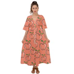 Fruit Apple Kimono Sleeve Boho Dress