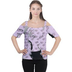 Wide Eyed Girl Lilac Cutout Shoulder Tee by snowwhitegirl