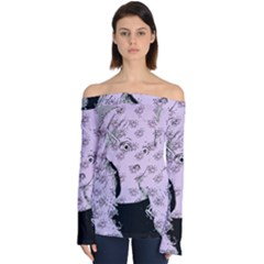 Wide Eyed Girl Lilac Off Shoulder Long Sleeve Top by snowwhitegirl