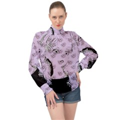 Wide Eyed Girl Lilac High Neck Long Sleeve Chiffon Top