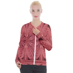 Background Floral Pattern Casual Zip Up Jacket