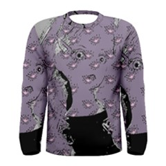 Wide Eyed Girl Grey Lilac Men s Long Sleeve Tee by snowwhitegirl