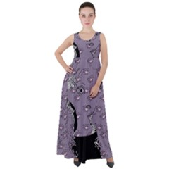 Wide Eyed Girl Grey Lilac Empire Waist Velour Maxi Dress by snowwhitegirl