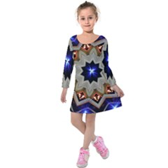 Background Mandala Star Kids  Long Sleeve Velvet Dress by Mariart