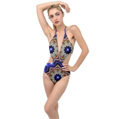 Background Mandala Star Plunging Cut Out Swimsuit