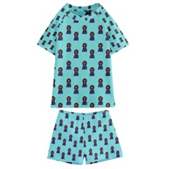 Nerdy 60s  Girl Pattern Aqua Kids  Swim Tee And Shorts Set
