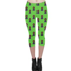 Nerdy 60s  Girl Pattern Green Capri Leggings
