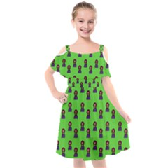 Nerdy 60s  Girl Pattern Green Kids  Cut Out Shoulders Chiffon Dress by snowwhitegirl