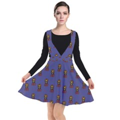 Nerdy 60s  Girl Pattern Dark Purple Plunge Pinafore Dress
