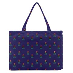 Nerdy 60s  Girl Pattern Blue Zipper Medium Tote Bag by snowwhitegirl