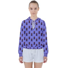 Nerdy 60s  Girl Pattern Purple Women s Tie Up Sweat by snowwhitegirl