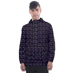 Lilac Firecracker Heart Pattern Men s Front Pocket Pullover Windbreaker