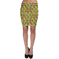 Heart Skeleton Face Pattern Yellow Bodycon Skirt