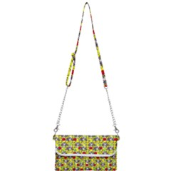Heart Skeleton Face Pattern Yellow Mini Crossbody Handbag