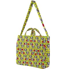 Heart Skeleton Face Pattern Yellow Square Shoulder Tote Bag