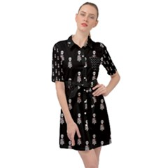 Heart Skeleton Pattern Belted Shirt Dress by snowwhitegirl