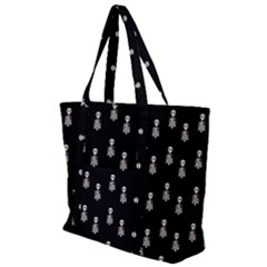 Heart Skeleton Pattern Zip Up Canvas Bag