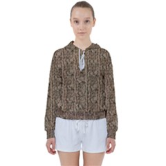 Knitted Wool Brown Women s Tie Up Sweat by snowwhitegirl