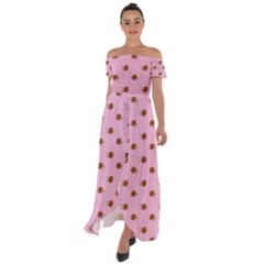 Peach Rose Pink Off Shoulder Open Front Chiffon Dress