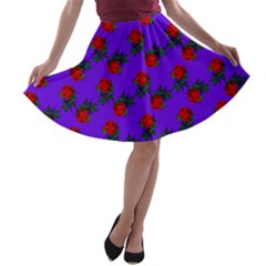 Red Roses Blue Purple A-line Skater Skirt by snowwhitegirl