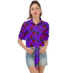 Red Roses Blue Purple Tie Front Shirt  by snowwhitegirl