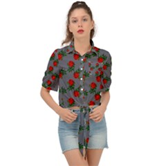 Red Roses Grey Tie Front Shirt  by snowwhitegirl