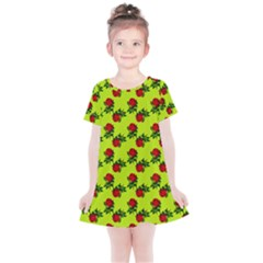 Red Roses Lime Green Kids  Simple Cotton Dress