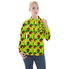 Red Roses Lime Green Women s Long Sleeve Pocket Shirt