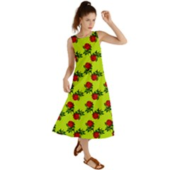 Red Roses Lime Green Summer Maxi Dress by snowwhitegirl