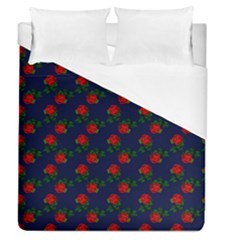 Red Roses Dark Blue Duvet Cover (queen Size)