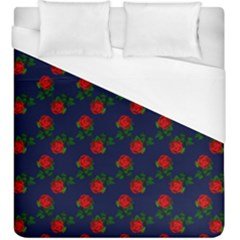 Red Roses Dark Blue Duvet Cover (king Size) by snowwhitegirl