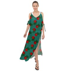 Red Roses Teal Green Maxi Chiffon Cover Up Dress