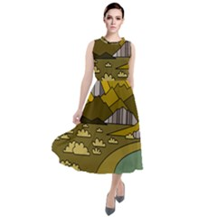 Travel Destination Landscape Nature Round Neck Boho Dress