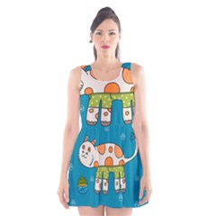 Paint Kitten Cats Cat Cute Paw Scoop Neck Skater Dress by Simbadda