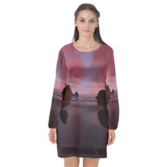 Rocks Sky Landscape Sea Wave Long Sleeve Chiffon Shift Dress