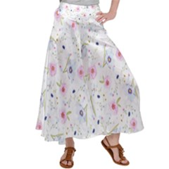 Floral Pattern Background Satin Palazzo Pants