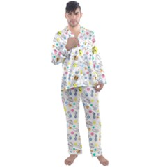 Summer Pattern Design Colorful Men s Satin Pajamas Long Pants Set by Simbadda