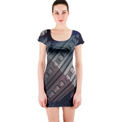 Fractals 3d Graphics Shapes Short Sleeve Bodycon Dress