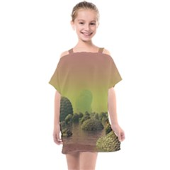 Planet Water Sea Landscape Space Kids  One Piece Chiffon Dress