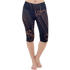 Fractals Abstraction Tla Designs Lightweight Velour Cropped Yoga Leggings by Simbadda
