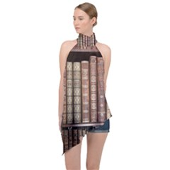Library Books Knowledge Halter Asymmetric Satin Top