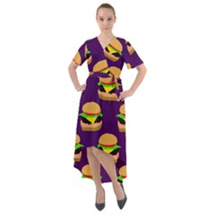 Burger Pattern Front Wrap High Low Dress