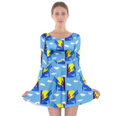 Blue Coyote Pattern Long Sleeve Skater Dress by bloomingvinedesign