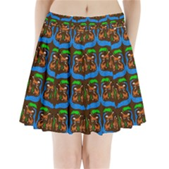 Foxes Pattern Pleated Mini Skirt by bloomingvinedesign