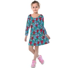 Red And Blue Green Floral Pattern Kids  Long Sleeve Velvet Dress by bloomingvinedesign